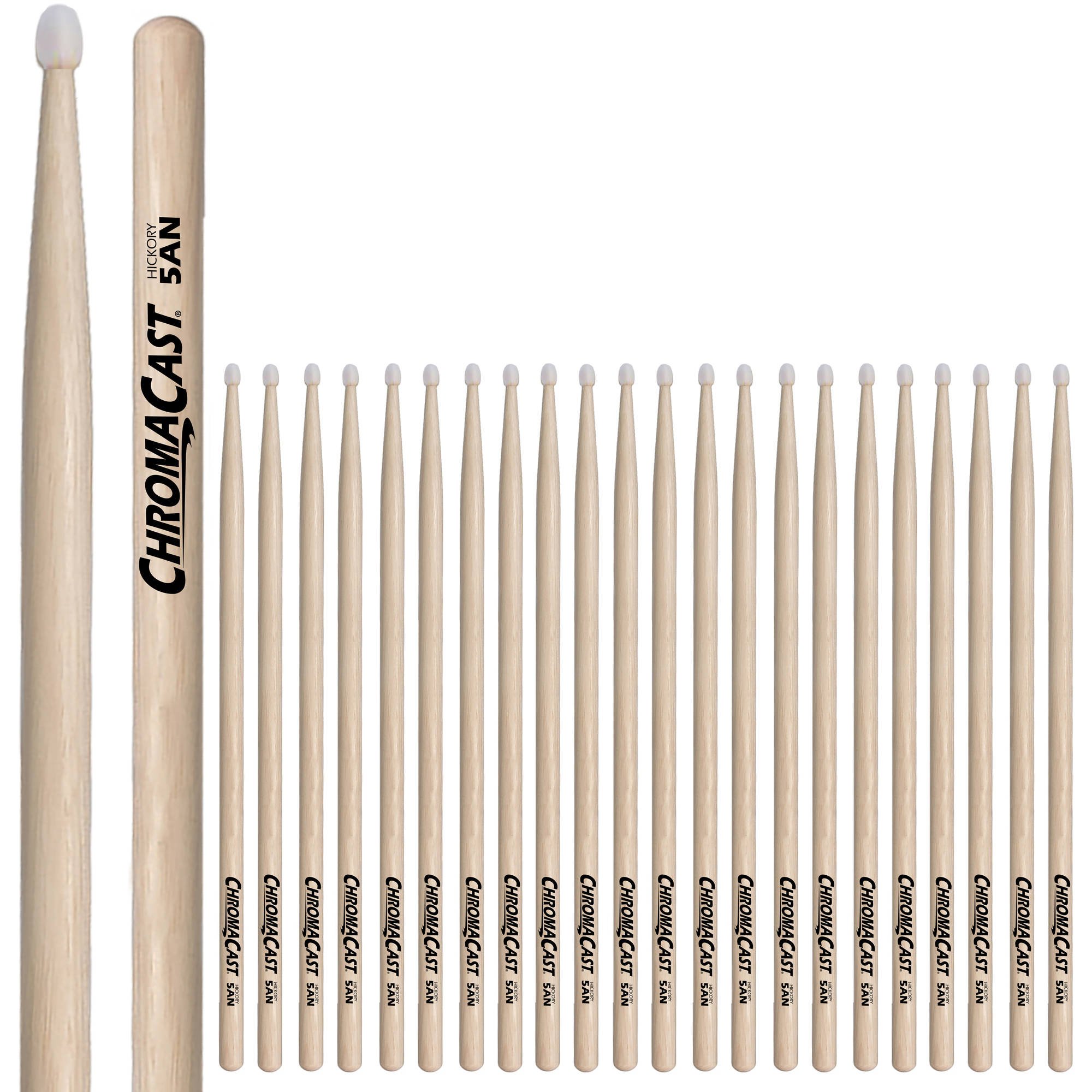 ChromaCast 5A Hickory Nylon-Tipped Drumsticks, 12 Pairs by ChromaCast