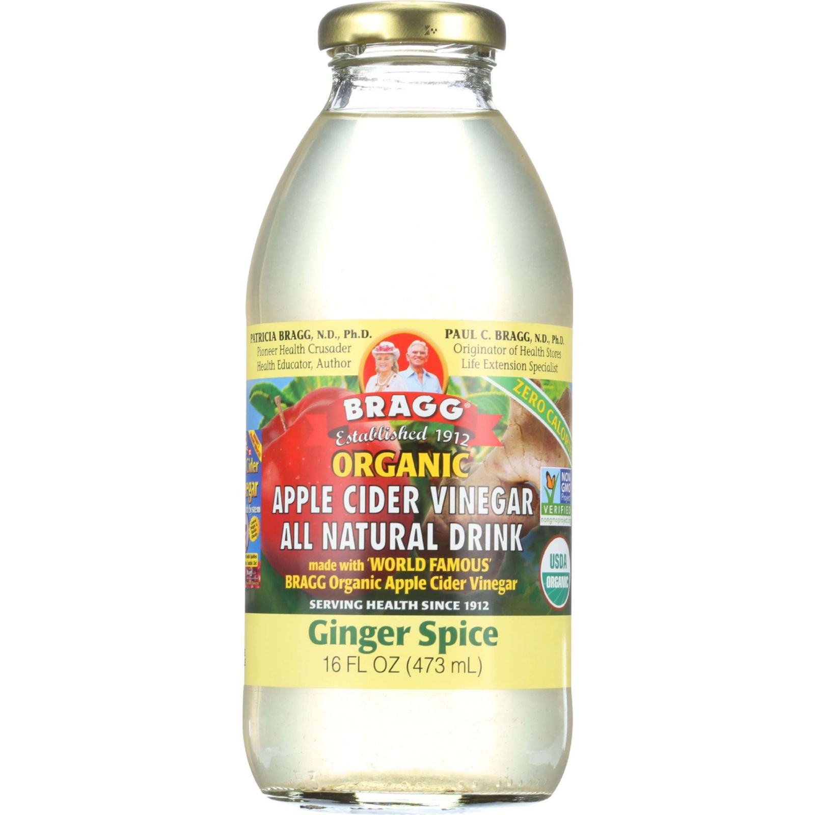 Bragg Apple Cider Vinegar Drink Organic Ginger Spice 16 oz case of 12 by