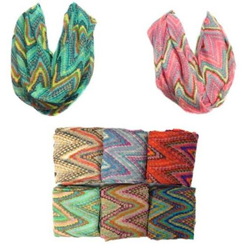 Infinity Circle Scarves Chevron Zig Zag Floral Case Of 24