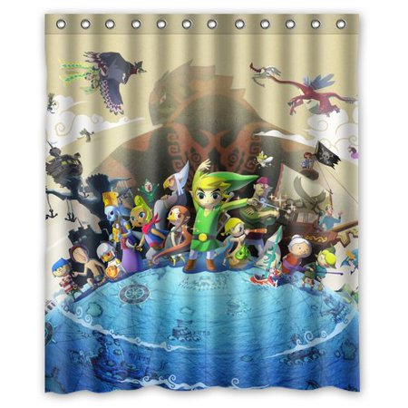 DEYOU The Legend Of Zelda Create Shower Curtain Polyester Fabric Bathroom Size 48x72 Inches
