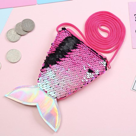 Fancyleo Women Mermaid Tail Sequins Purse Girls Crossbody Bags Wallet Bag for Children -