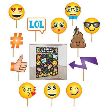 Emoji 'LOL' Wall Poster Decorating Kit w/ Photo Props - Emoji Photos