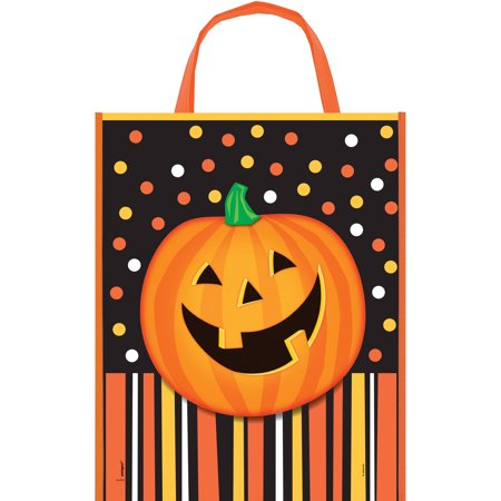 Large Plastic Smiling Pumpkin Halloween Goodie Bag, 15 x 12 in, 1ct