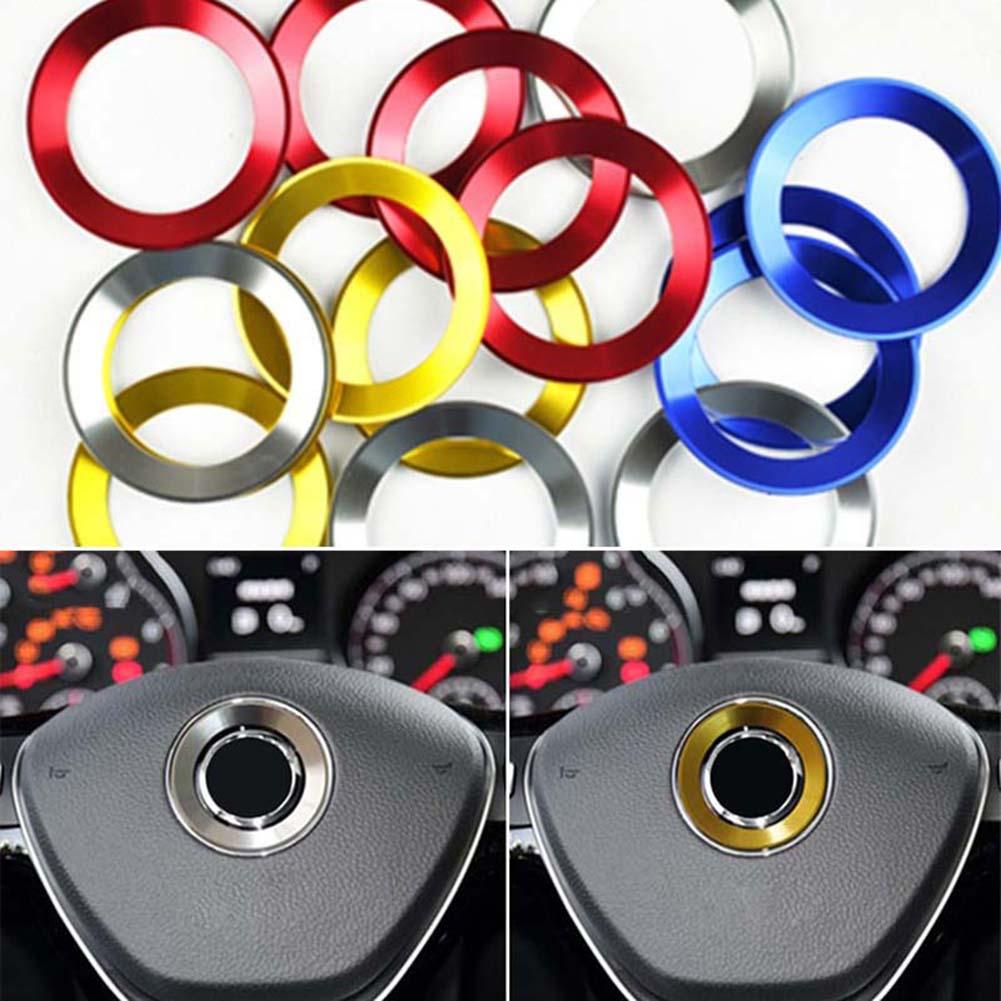 Girl12Queen Aluminium Alloy Car Steering Wheel Decorative Circle Center Sticker for VW Jetta