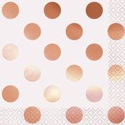 Polka Dot Paper Luncheon Napkins, 6.5 in, Foil Rose Gold, 16ct
