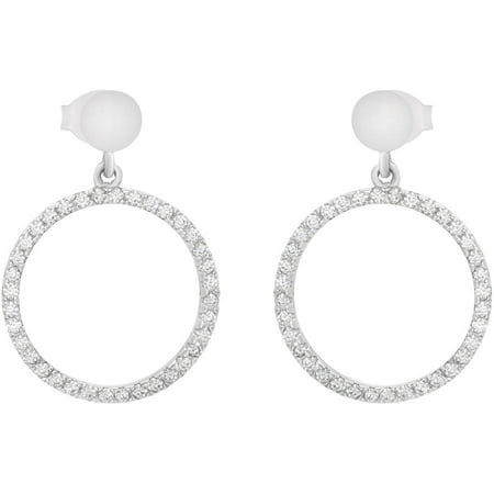 4057841df American Designs - Round CZ Sterling Silver Geometric Open Circle Dangle  Drop Post Earrings - Walmart.com