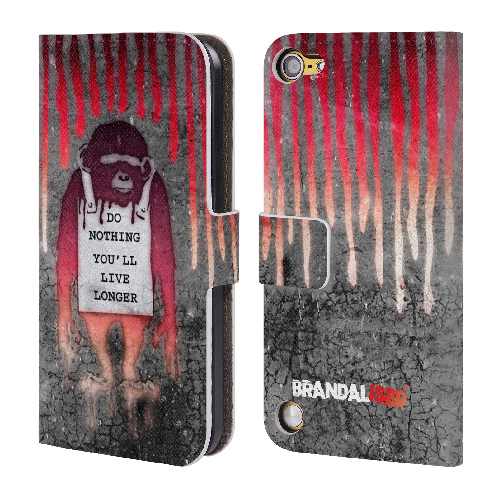 OFFICIAL BRANDALISED BANKSY ART COLOURED DRIPS LEATHER BOOK WALLET CASE COVER FOR APPLE IPOD TOUCH MP3