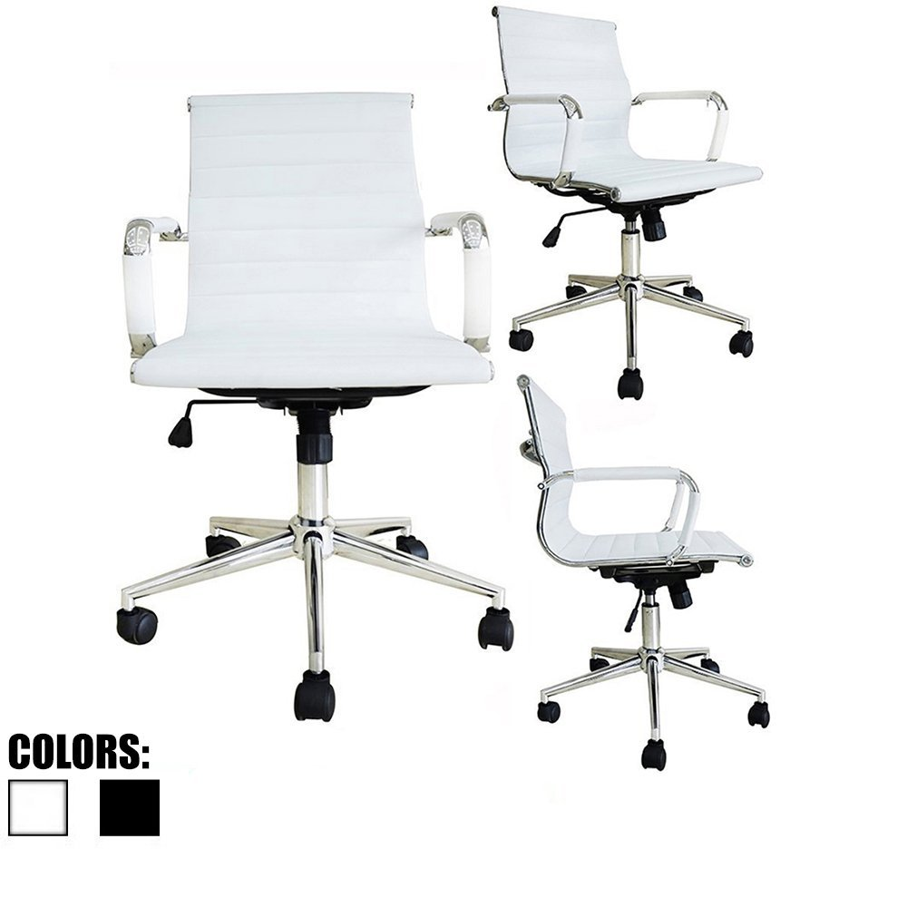 2xhome - White Modern Mid Back Ribbed PU Leather Chair with wheels arms Arm Rest w/Tilt Adjustable seat Designer Boss Executive Office Chair Work Task Computer Executive Arms Large Chrome Base