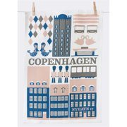 FERM LIVING 5038 Hand Printed Organic Cotton Tea Towels 50x70cm - Copenhagen Tea Towel - Blue