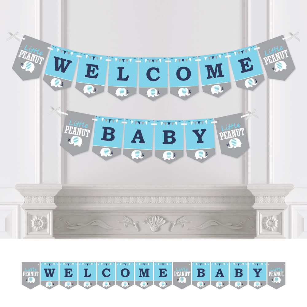 Blue Elephant - Boy Baby Shower Bunting Banner - Party Decorations - Welcome Baby