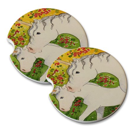 KuzmarK Sandstone Car Drink Coaster (set of 2) - Unicorn Mare and Foal with Red Roses Fantasy Horse Art by Denise