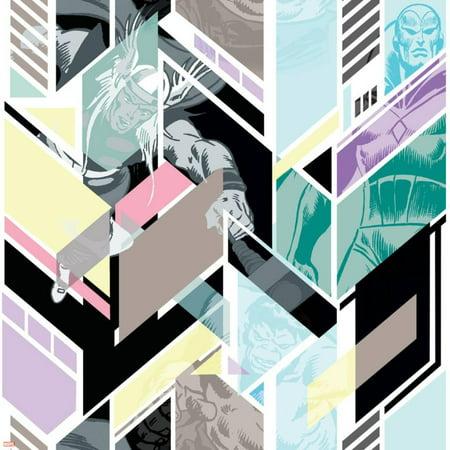 Marvel Comics Retro Pattern Design Featuring Hulk, Thor, Vision Print Wall Art
