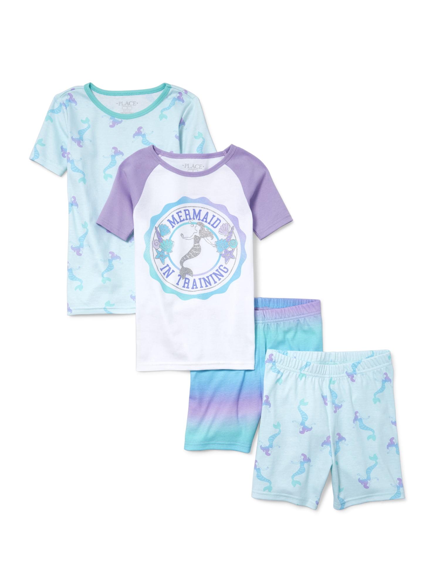 "Girls' ""Mermaid in Training"" 4 Piece Pajama Sleep Set (Little Girl & Big Girl)"
