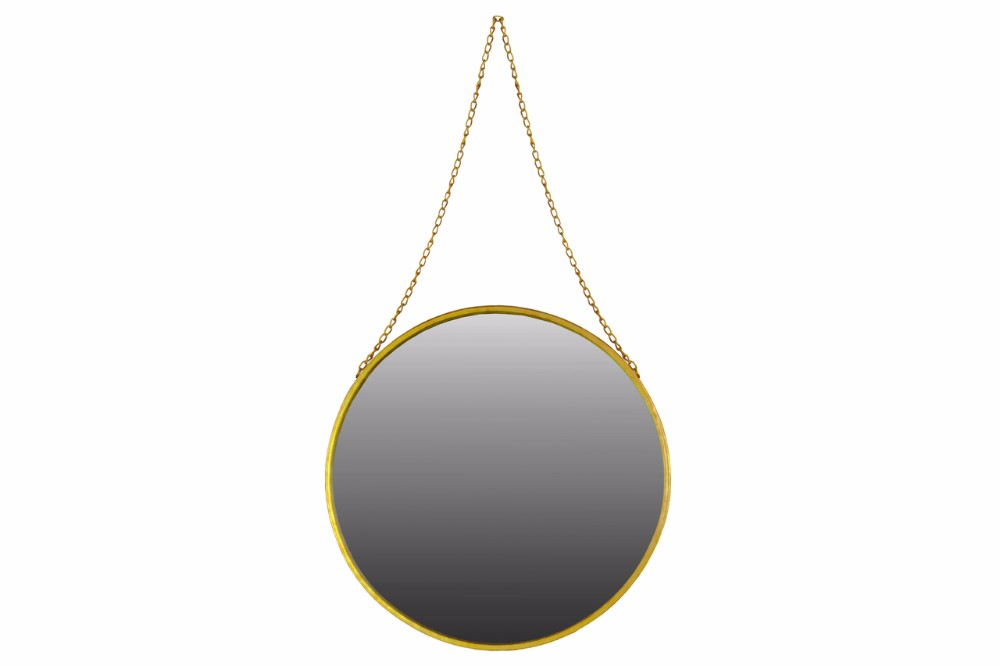 Metal Round Mirror with Chain Hanger Large Gold Benzara by Benzara