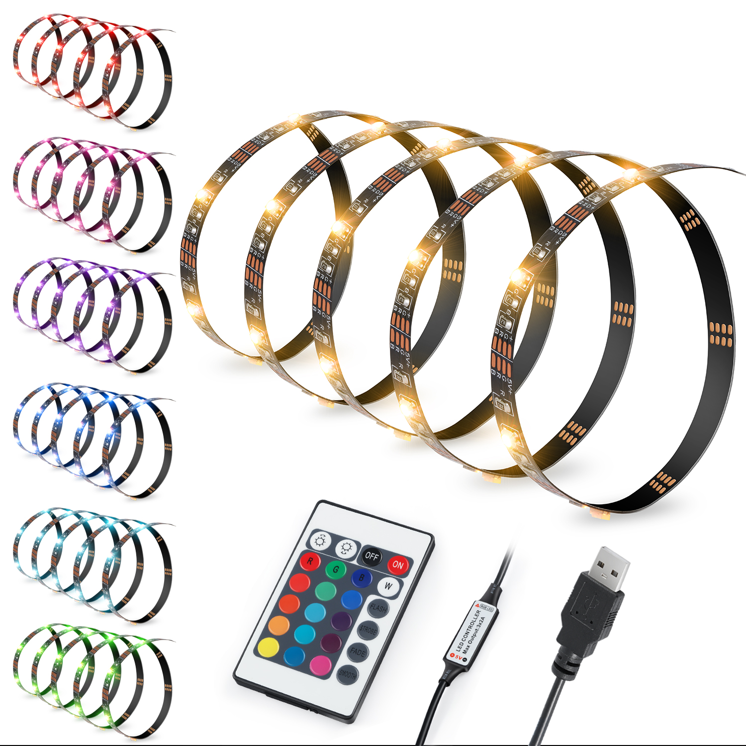 "80"" LED Strips Bias Lighting TV Backlight RGB Lights with Remote Control Multi Color"