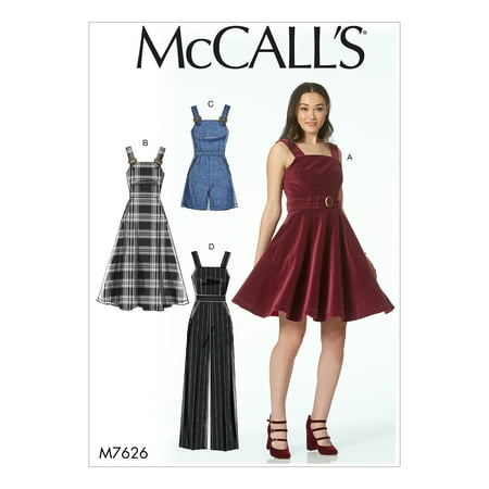 McCall's Sewing Pattern Misses' Dresses, Belt, Romper, and Jumpsuit with Pockets-12-14-16-18-20