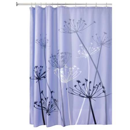 InterDesign Thistle Fabric Shower Curtain Standard 72 X Purple Gray