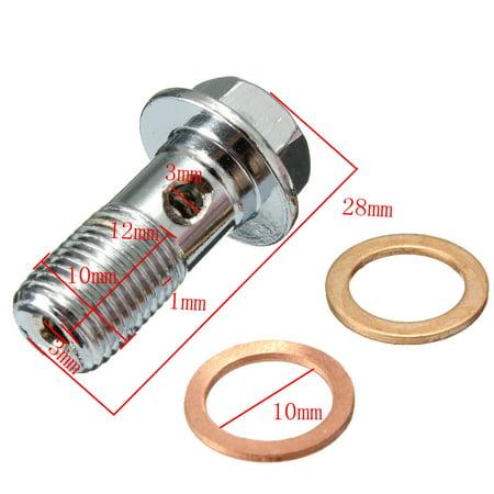 Motorcycle Brake Master Cylinder Banjo Bolt 10mm M10 x 1.00 Caliper Stainless For     US - image 4 de 6