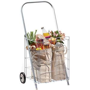"Homz 2 Wheel Small Capacity Tote Cart - 2 Casters15"" Width x 13"" Depth x 19"" Height - White"