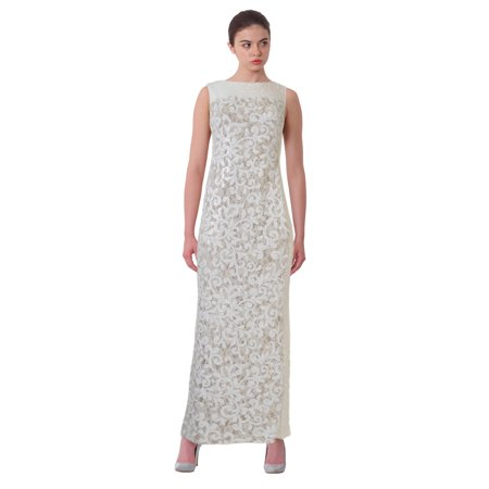 Lauren Ralph Lauren Sequined Floral Lace Sleeveless Evening Gown