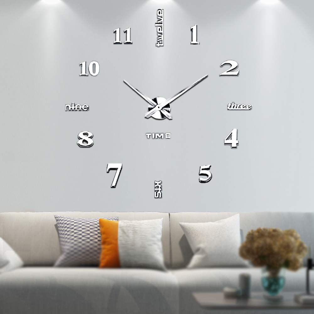 Yosoo Wall Sticker Clock,3D Mirror Surface Sticker Modern Large DIY Wall Clock Home Decoration Modern Design Wall Clocks Wall Sticker