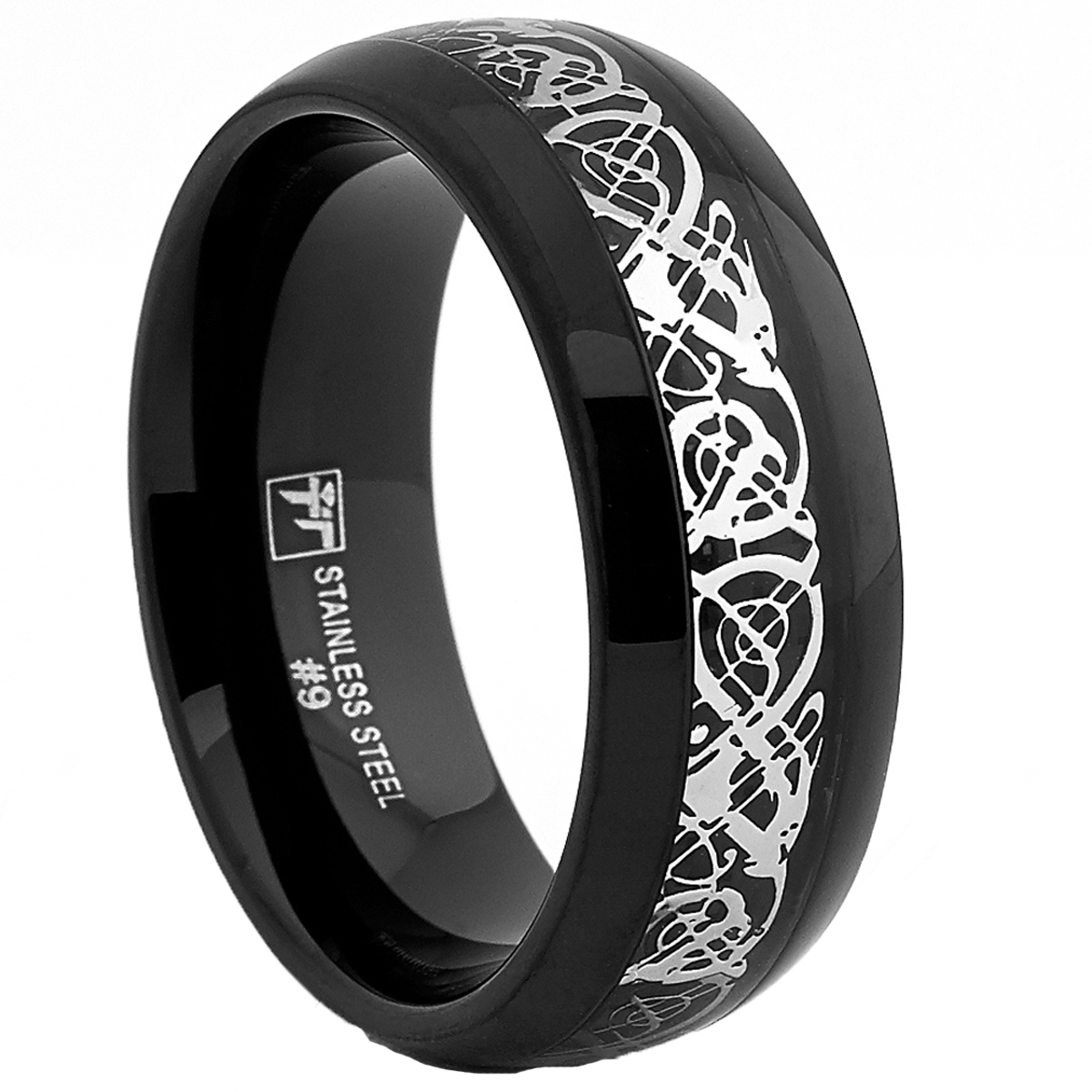 Dome Stainless Steel Black Men's Ring Band With Celtic Dragon Inlaid Design, 8mm Comfort Fit