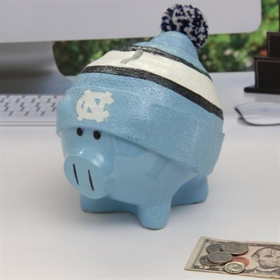 North Carolina Tar Heels Piggy Bank Large With Hat by Forever Collectibles