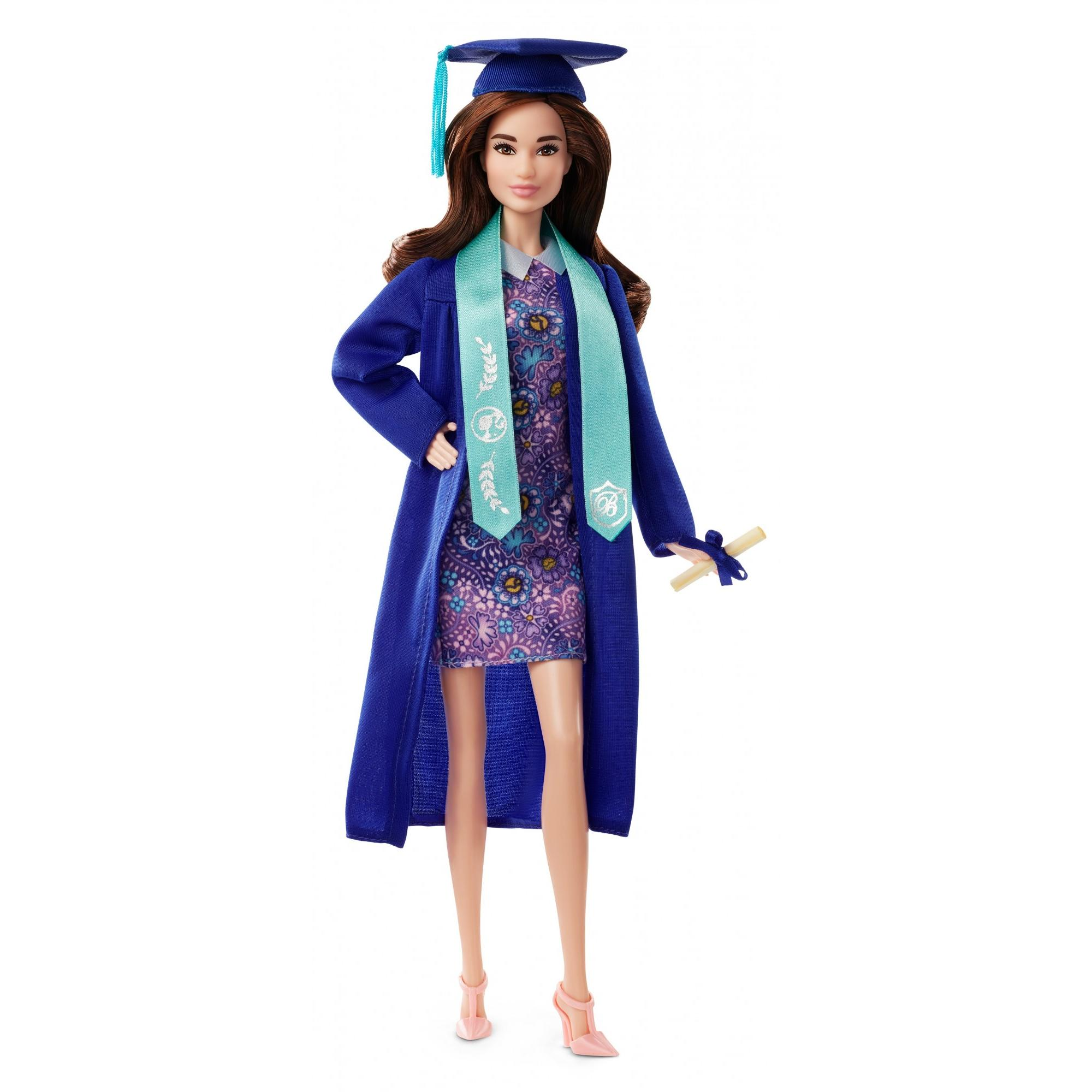 Barbie Graduation Day Cap & Gown Doll, Brunette Hair
