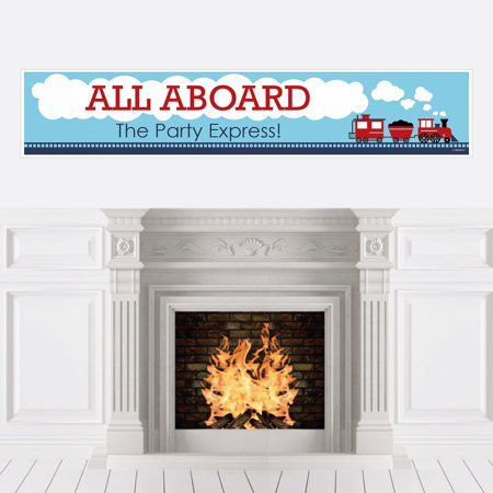 Railroad Party Crossing - Steam Train Party or Baby Shower Decorations Party Banner (Train Themed Decorations)