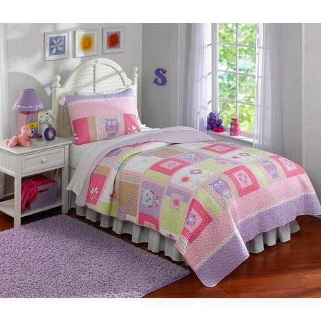 Pink Dot Bedding (Happy Owls Bedding Quilt Set)