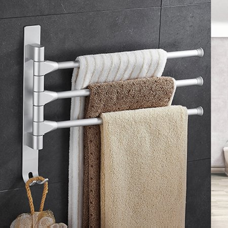 Nail Free Wall Mounted Alumimum Towel Rack Multi Arms Hanging Bathroom Movable Bars 3