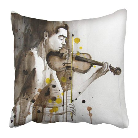 ARTJIA Modern Illustrated Portrait of Young Man with Violin Self Made Music Watercolor Paint Splash People Pillowcase Pillow Cover 20x20 inches