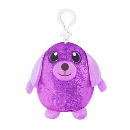 Shimmeez Clip Ons Reversible Key Chains - Sequins Purple Pink Puppy Dog