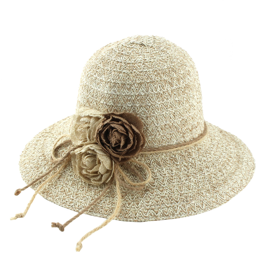 Ladies Straw Flower Design Foldable Traveling Brimmed Sun Cap Beach Hat
