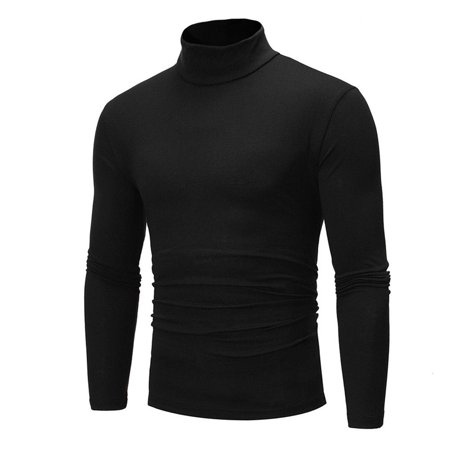 Mens Thermal Cotton Turtle Neck Skivvy Turtleneck Sweaters Stretch Shirt Tops Black M