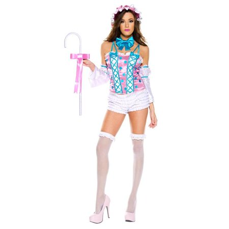 Music Legs 70765-ML 6 Piece Miss Little Bo Peep for Polka Dot Satin Top with Ruffle Shorts, Hat, Bow Tie, Sleeves & Crook - Medium &