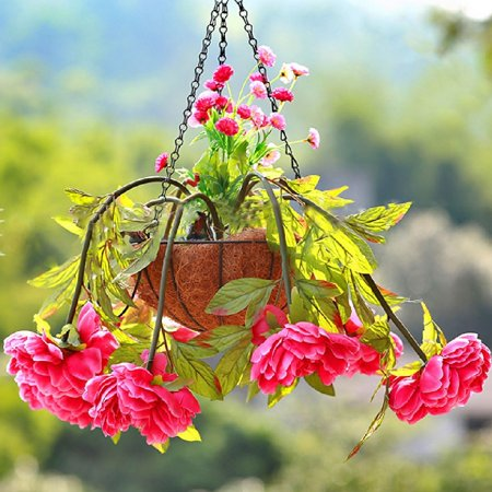 1pc Wire Coconut Palm Baskets Flowers Plants Fleshy Flower Pot Chain Hanging Decoration for Garden Porch Balcony Indoor Outdoor 8 Inch - image 2 of 5