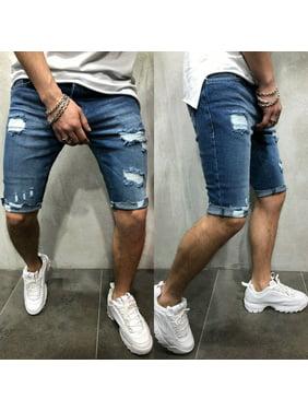 Summer Mens Distressed Rip Colored Jean Short Pant Denim Ripped Shorts