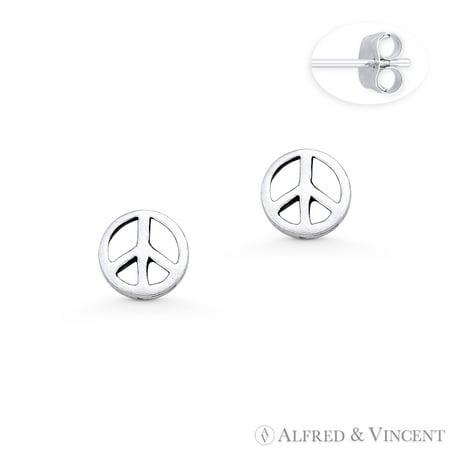 Peace Sign 6.5mm Charm Hippie Symbol Stud Earrings in Oxidized .925 Sterling Silver - Hippie Earrings