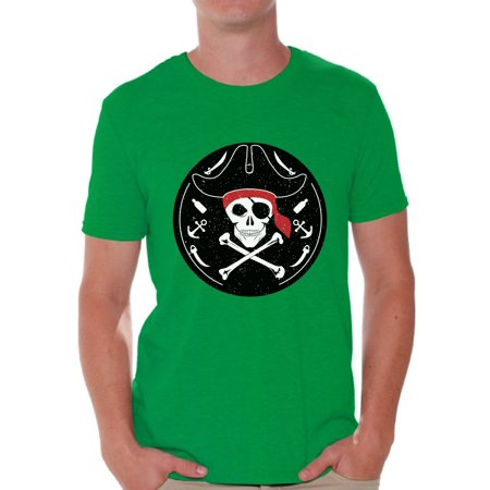 Awkward Styles Jolly Roger Tshirt for Men Pirate Skull Shirt Jolly Roger Skull T Shirt Dia de los Muertos Gifts for Him Day of the Dead Shirt Pirate Skull Flag Shirt Pirate Birthday Costume Shirt - Mens Pirate Shirts