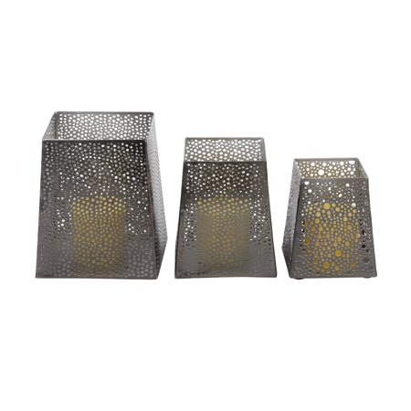 7 Inch Candlelight Holder - Decmode Set of 3 modern 5, 6, and 7 inch matte iron trapezoidal candle holders, Gray