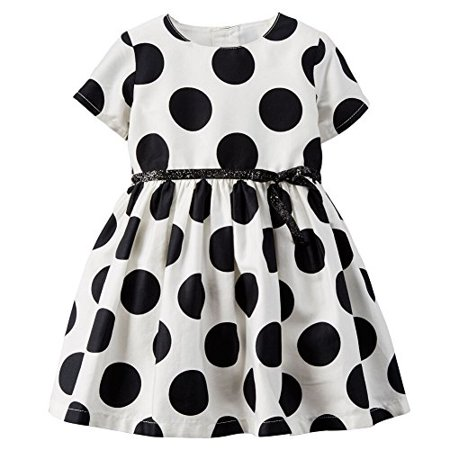 Carter's Baby Girls' Polka Dot Sateen Dress - White Black (3 Months)