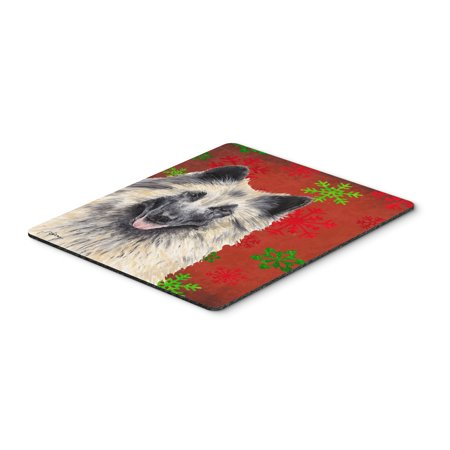 Belgian Tervuren Red and Green Snowflakes Christmas Mouse Pad, Hot Pad Trivet