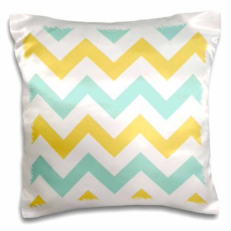 3dRose Yellow and Mint Chevron zig zag pattern - pastel white zigzag stripes - Pillow Case, 16 by 16-inch