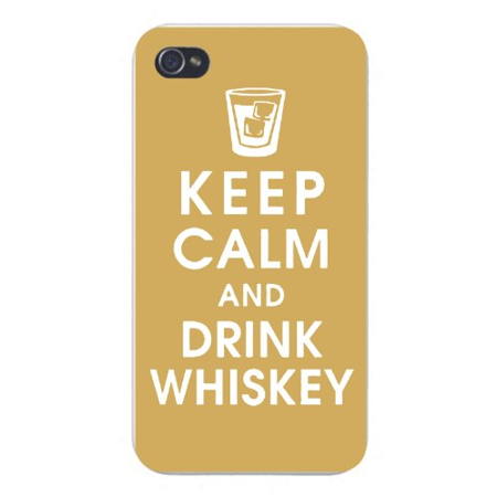 Apple Iphone Custom Case 4 4s White Plastic Snap on - Keep Calm and Drink Whiskey w/ Short Glass & Ice - Halloween Drinks Dry Ice Alcoholic