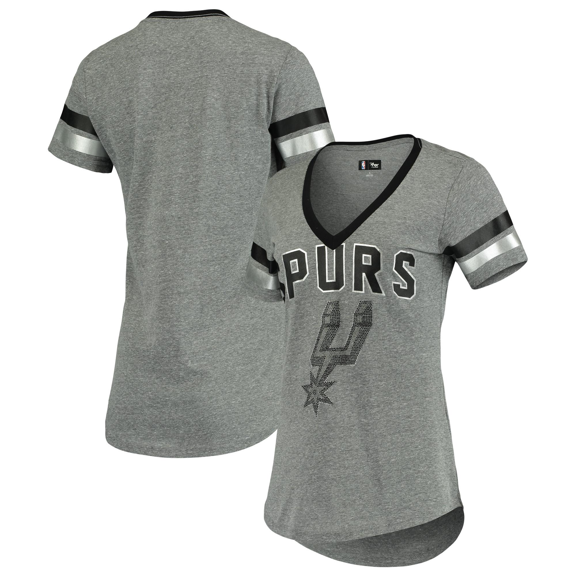 San Antonio Spurs G-III 4Her by Carl Banks Women's Walk Off Crystal Applique Logo V-Neck Tri-Blend T-Shirt - Gray/Black