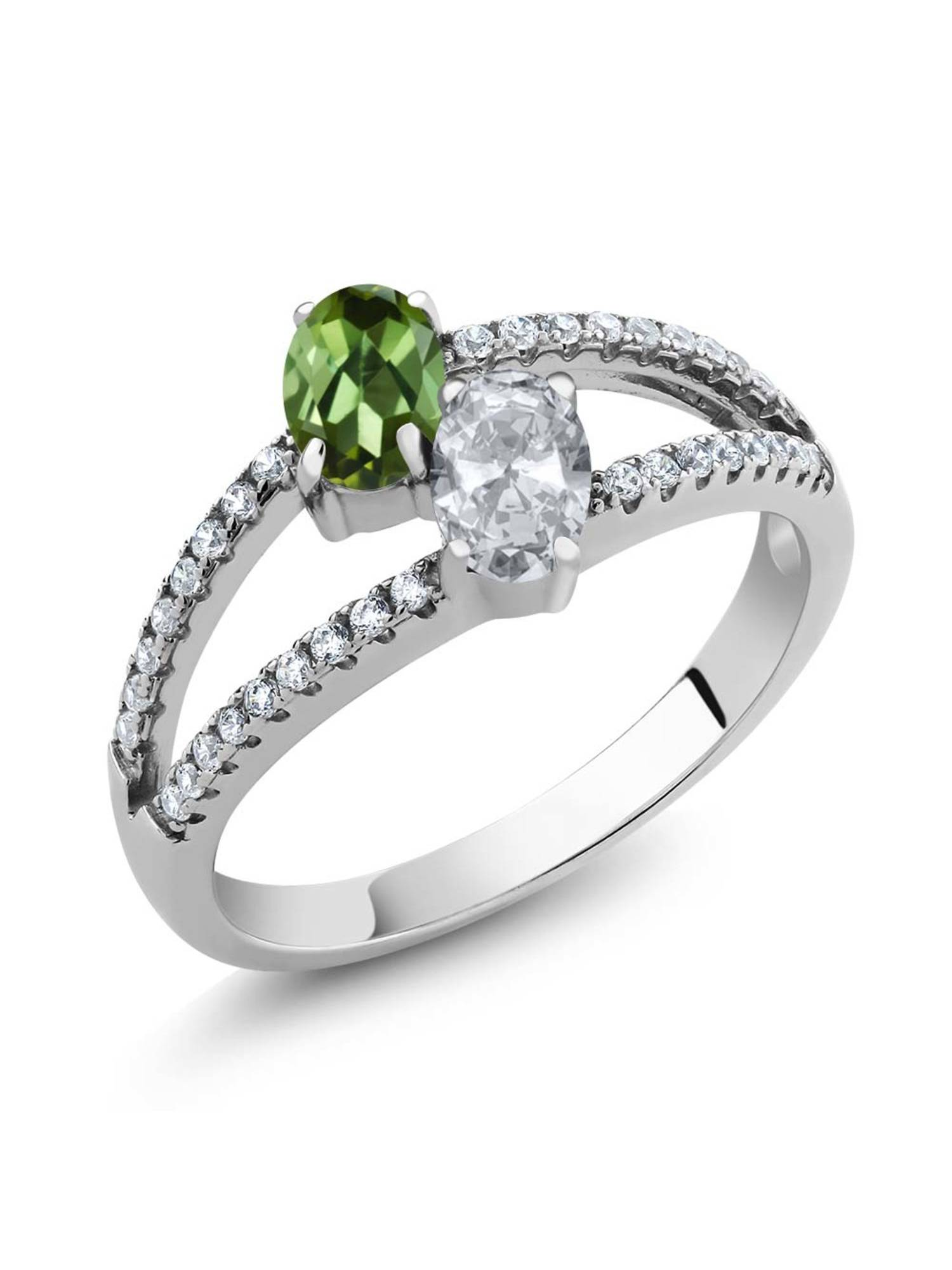 1.41 Ct Oval Green Tourmaline White Topaz Two Stone 925 Sterling Silver Ring by