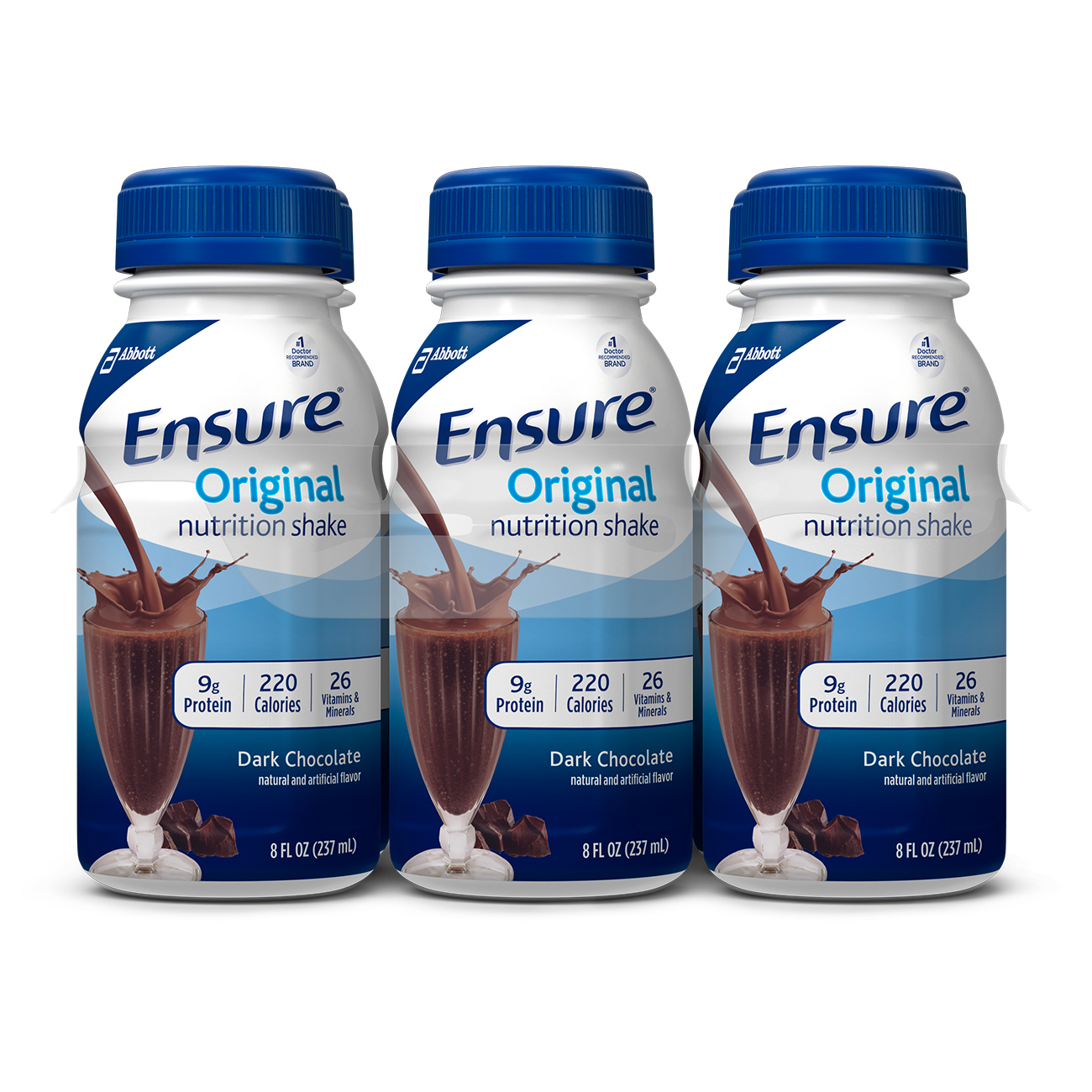 Ensure Original Nutrition Shake with 9 grams of protein, Meal Replacement Shakes, Dark Chocolate, 8 fl oz, 6 Count