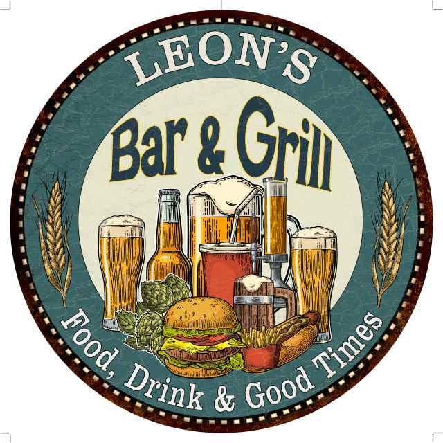Leon S Bar And Grill 12 Round Metal Sign Kitchen Wall Decor 200120023082 Walmart Com Walmart Com
