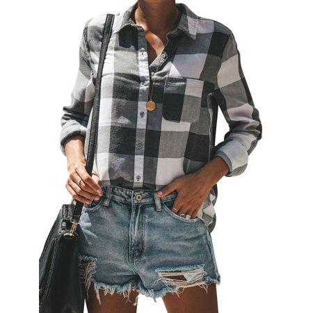 - Roykit Women Roll Up Sleeve Buttons Classic Lapel Pocket Plaid Shirt Blouse